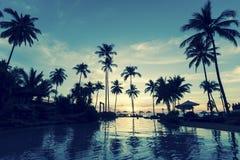 Sunset on the tropical ocean beach. Stock Photo