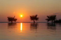 Sunset in tropical paradise Royalty Free Stock Photography