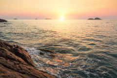 Sunset on a tropical rocky shore. Nature. Stock Photography
