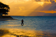 Sunset  tropical sea. Beautiful sunset sea on the Philippine island Royalty Free Stock Images