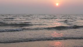 Sunset on the tropical sea in Thailand. Tender and beautiful sunset on the tropical sea in Thailand, Asia stock video
