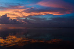 Sunset at tropical waterfront location of Florida Keys. Stock Photos