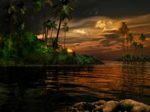 Sunset in the tropics Royalty Free Stock Photography