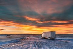Truck stop in the evening. Sunset on the truck stop alone royalty free stock photo