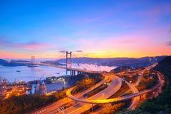 Sunset at Tsing Ma Bridge Royalty Free Stock Photography