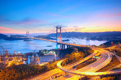 Sunset at Tsing Ma Bridge Stock Photography