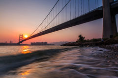 Sunset on Tsing Ma Bridge. Hong Kong Royalty Free Stock Photos
