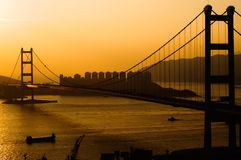 Sunset of Tsing Ma Bridge in Hong Kong Stock Photography