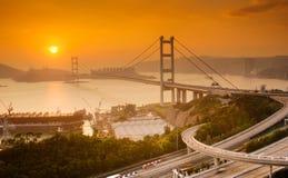 Sunset of Tsing Ma Bridge in Hong Kong stock images