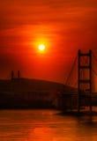 Sunset of Tsing Ma Bridge in Hong Kong stock image