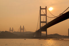 Sunset at Tsing Ma Bridge, Hong Kong Stock Photography