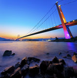 Sunset at Tsing Ma Bridge Stock Photo