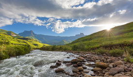 Sunset at the Tugela River stock images