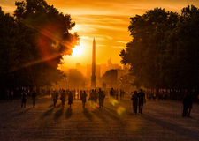 Sunset at Tuileries Gardens, Paris Royalty Free Stock Photo