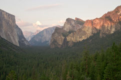 Sunset at Tunnel View in Yosemite National Park Royalty Free Stock Image