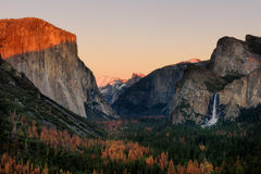 Sunset Tunnel view Yosemite Park, California royalty free stock images