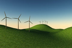 Sunset with turbines. Clean energy on soft hills under a sunset light stock illustration