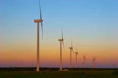 sunset turbiny wiatr Zdjęcia Royalty Free