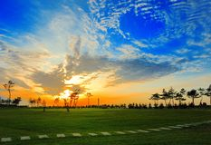 Sunset and turf. Weihai City, the seaside sunset and turf Royalty Free Stock Photos