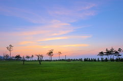 Sunset and turf. Waterfront Plaza in the city, a thunderstorm after sunset under the lawn is very fascinating Royalty Free Stock Photos