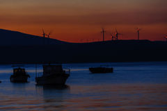 Sunset on the turkish aegean sea Royalty Free Stock Photos