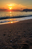 Sunset on a Turkish beach. Alanya coast. Landscape photography Royalty Free Stock Photography