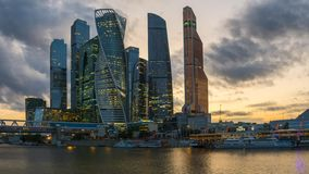 Timelapse of Moscow city skyscrapers stock video footage