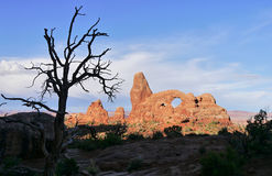Sunset at Turret Arch. Arches National Park, Utah Stock Photos