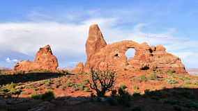 Sunset at Turret Arch. Arches National Park, Utah Stock Image