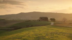 Sunset in Tuscany. The sunset light over properties in Tuscany, Italy stock footage