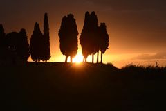 Sunset in Tuscany. The sun against the silhouette of some cypresses in Tuscany Stock Photo