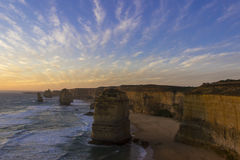 Sunset at twelve apostles places on Green Ocean Road Royalty Free Stock Photo