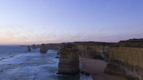 Sunset at twelve apostles tourist attraction on Green Ocean Road Royalty Free Stock Image