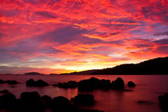 Sunset twilight on andaman sea Royalty Free Stock Photography
