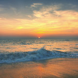 Sunset Twilight Dusk Beach Wave San Concept Royalty Free Stock Photo