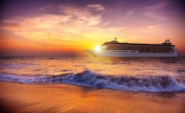 Sunset Twilight Dusk Ocean Wave Cruise Concept Royalty Free Stock Photography