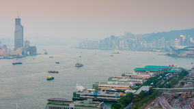 Sunset twilight hong kong traffic bay rooftop panorama 4k time lapse china stock video footage