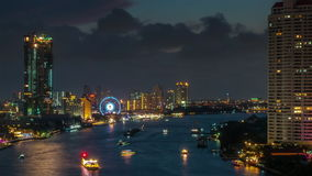 Sunset twilight roof top chao phraya river traffic flyer panorama 4k time lapse thailand. Thailand sunset twilight roof top chao phraya river traffic flyer stock video footage