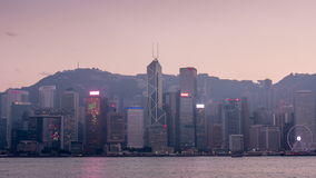 Sunset twilight sky hong kong bay panorama 4k time lapse china. China sunset twilight sky hong kong city famous bay panorama 4k time lapse stock footage