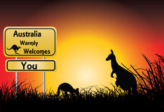 Sunset with two kangaroos and welcome sign Stock Photography