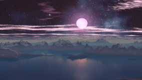 Sunset two moons. Blue mist envelops the sharp rocky islands, standing among the calm waters. In the night sky bright stars and nebula clouds slowly float. The stock video footage