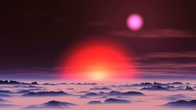 Sunset of Two Suns on Alien Planet. Bright yellow sun in the red halo is moving toward the horizon. Pink sun floats through the dark sky among the rare clouds stock illustration
