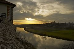Sunset in Tyniec Stock Image