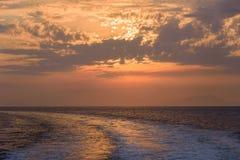 Sunset on Tyrrhenian sea Royalty Free Stock Photos