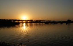 Sunset on U Bein Bridge Amarapura, Mandalay, Myanmar (Burma) Royalty Free Stock Images