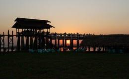 Sunset on U Bein Bridge Amarapura, Mandalay, Myanmar (Burma) Stock Images
