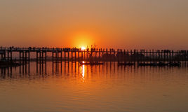 Sunset on U Bein Bridge Amarapura, Mandalay, Myanmar (Burma) Royalty Free Stock Photography