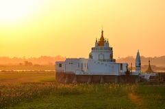 Sunset in U Bein bridge, Myanmar Royalty Free Stock Photography