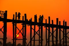 Sunset in U Bein bridge, Myanmar Stock Photography