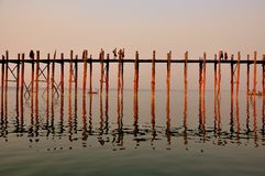 Sunset in U Bein bridge, Myanmar Stock Image